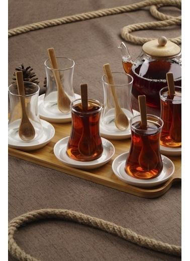 Acar PORJ-010941/8 Acar Porselen Tabaklı 6 Lı Cam Çay Bardağı Bambu Tepsi+Kşk Porj-010941/8 Renkli